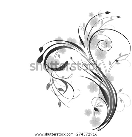 Black and white floral design element. - stock photo