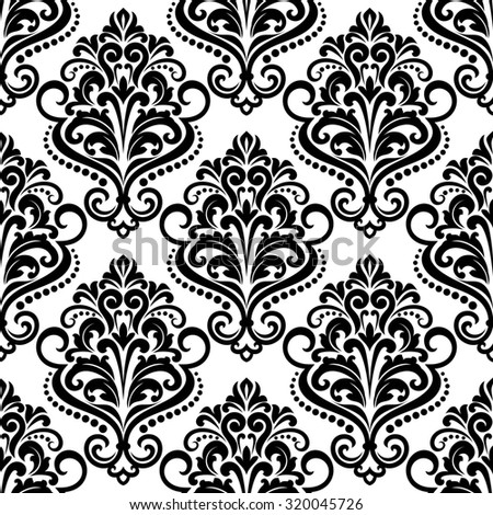 Black and white floral seamless pattern background with arabesque elements in damask style for wallpaper or fabric design - stock photo