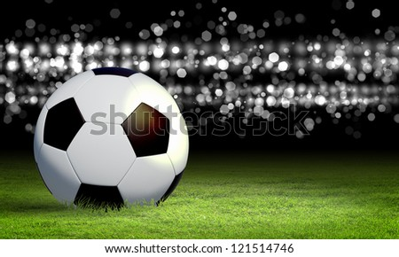Black and white football or soccer ball, colour illustration