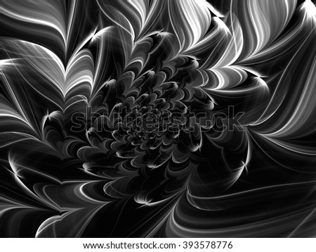 Black and white fractal. Abstract fractal. Fractal art background for creative design. Decoration for wallpaper desktop, poster, cover booklet.  texture. Psychedelic. Print for clothes, t-shirt. - stock photo