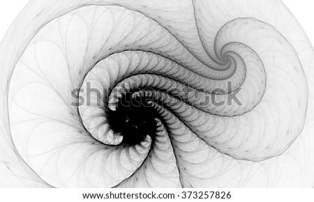 Black and white fractal. Fractal art background for creative design. Decoration for wallpaper desktop, poster, cover booklet. Print for clothes, t-shirt.  Creative illustration for design - stock photo