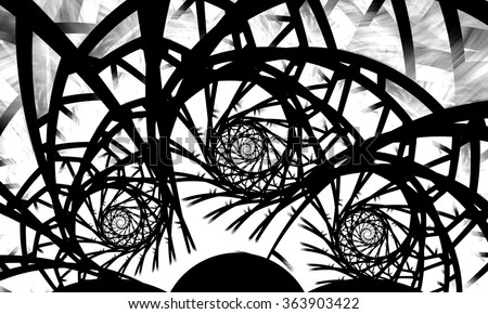 Black and white fractal. Fractal spiral. Abstract fractal. Fractal art background for creative design. Decoration for wallpaper desktop, poster, cover booklet. Psychedelic. Print for clothes, t-shirt. - stock photo