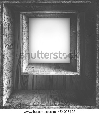 Black and white frame with copy space  frame on wooden wall blank  billboard in wooden interior The wooden frame of room perspective with light white background, hipster style wallpaper vintage.   - stock photo