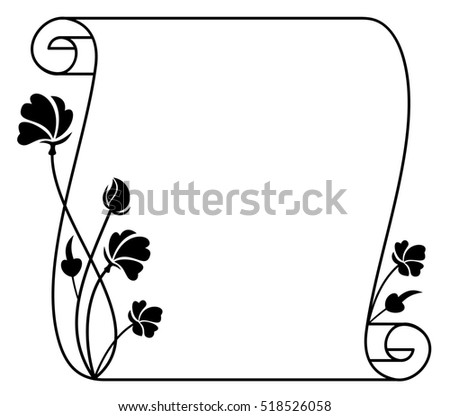 Black And White Frame With Decorative Flowers Copy Space Raster Clip Art