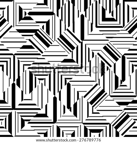 Black and white geometric seamless pattern. Abstract background without seams. Can be used for printing on fabric, web design, wallpaper etc. raster version  - stock photo