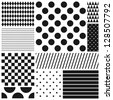Black and white geometric seamless patterns set (raster version) - stock photo