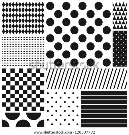 Black and white geometric seamless patterns set (raster version) - stock photo