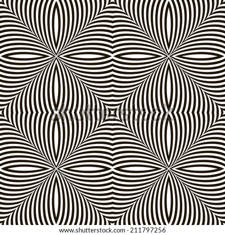 Black and White Geometric Shimmering Optical Illusion. Modern Flickering Effect. Op Art Design