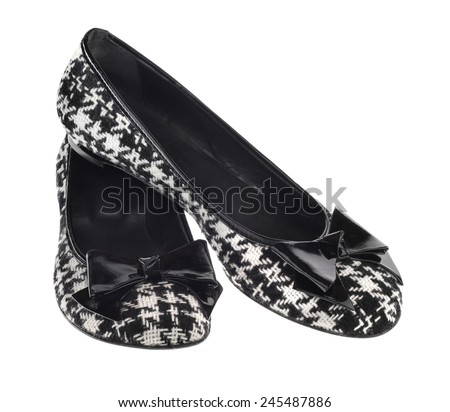 Black And White Gingham Flat Fashion Shoes with Patent Leather and Bow - stock photo