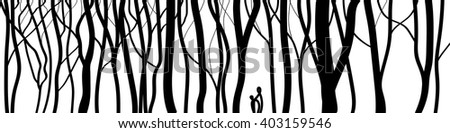 black-and-white graphic trees. Template for fabrics, textiles and wrapping paper. Print wallpaper. Panorama illustration