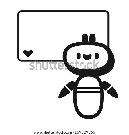 Black and white greeting card with cute robot (raster version) - stock photo