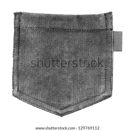 Black and white. Grey corduroy pocket isolated on white - stock photo