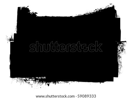 Black and white grunge ink splat banner concept with copyspace - stock photo