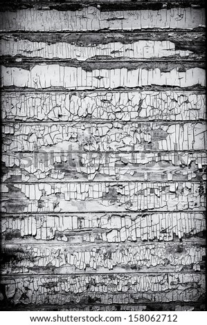 Black and White Grungy Wooden Wall - stock photo