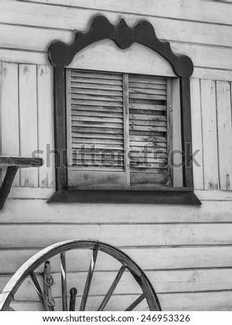 Black and White Gypsy wagon window - stock photo