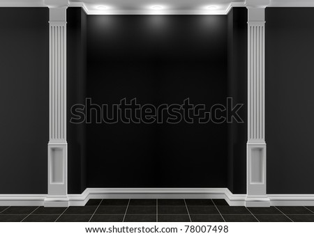 Black and white hall with classic decor - stock photo
