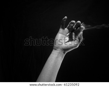 Black and White hand and smoke