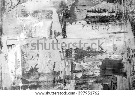 Black and white hand drawn oil texture. Brushstrokes on canvas. Abstract art. Grunge background. Oil painting on canvas. Fragment of artwork. Spots of paint. Modern art. Contemporary art. - stock photo