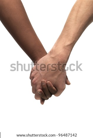Black and White hand isolated - stock photo