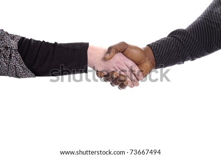 black and white hand of mature man and woman giving a handshake. Isolated on white background