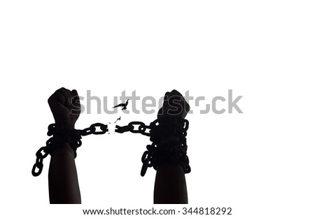 Black and white hands in chains with bird on white background. International Day for the Abolition of Slavery concept. - stock photo