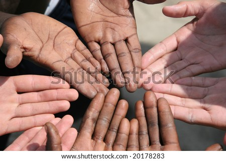 Black and white hands next to each other - stock photo