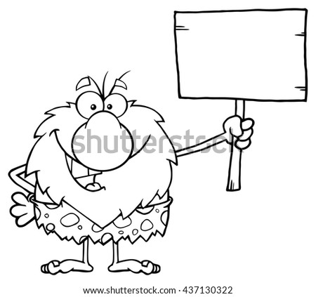 Black And White Happy Male Caveman Cartoon Mascot Character Holding A Wooden Board. Raster Illustration Isolated On White Background - stock photo