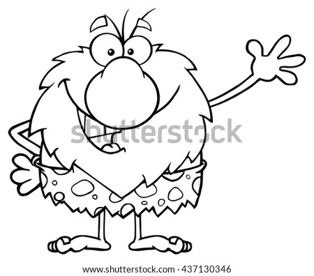 Black And White Happy Male Caveman Cartoon Mascot Character Waving For Greeting. Raster Illustration Isolated On White Background - stock photo