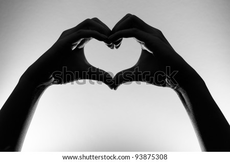 black and white heart hands silhouette - stock photo