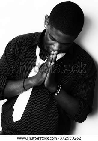 Black and White High Contrast African American Male - stock photo
