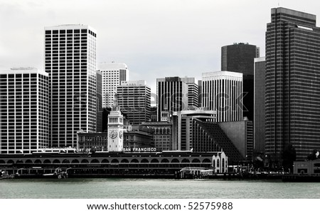 Black and white, high contrast view of the skyline of the harbor of San Francisco - stock photo