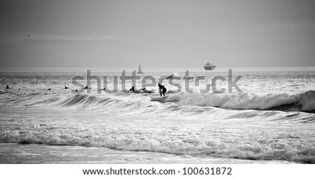 Black and white horizontal photo of the surfers in the sea - stock photo
