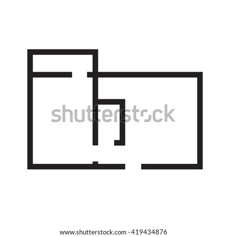 Black and white House, apartment plan House Home Building Architecture Blueprint icon raster illustration - stock photo