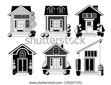 Black and white house icon set. jpg - stock photo