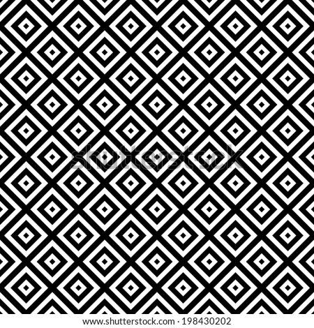 Black and White Hypnotic Background Seamless Pattern. - stock photo
