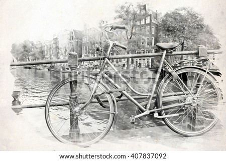 Black and white illustration amsterdam canals and houses - stock photo