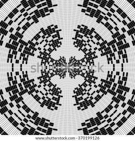 Black and white illustration - collection of concentric circles with taper illusion - stock photo