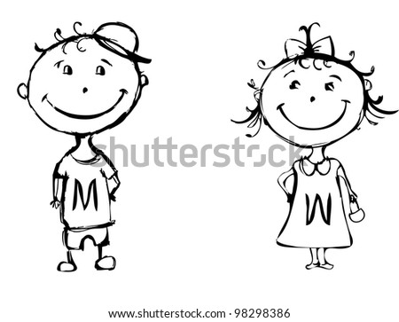 black and white illustration of a boy and a girl