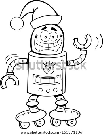 Black and white illustration of a robot wearing a Santa hat.