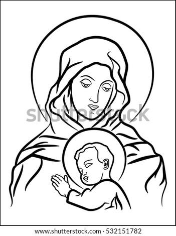 Black White Illustration Virgin
