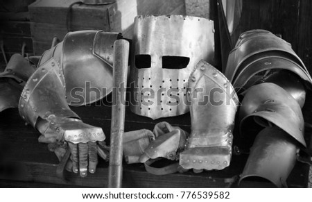 Black and white image of a knight's suit of armour