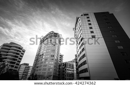 Black and White image of Commercial Building in Wellington, New Zealand  - stock photo