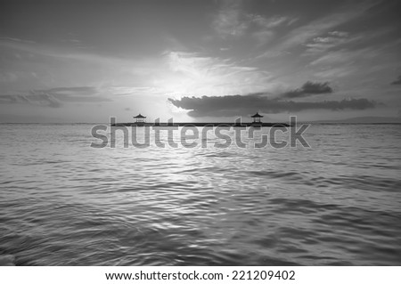 Black and white Image of Karang beach or Sanur beach in bali indonesia island one of the fabulous place to visit when you in Bali. - stock photo