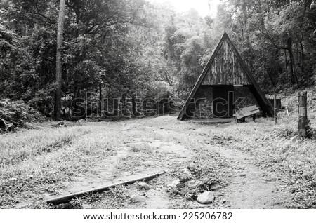black and white image of old hut in forest - stock photo
