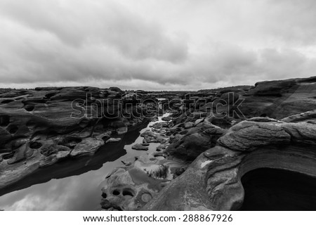 Black and white image of Rock holes Stone in Sam-Pan-Bok Grand C - stock photo