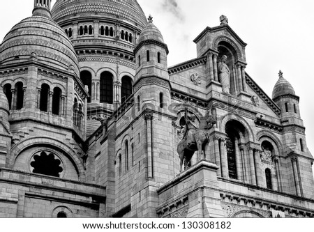Black and white image of the Sacre Coeur Cathedral in central Paris - stock photo