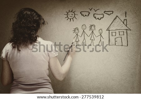 black and white image of young woman imaging a family with set of infographics over textured wall background. woman violence and abuse concept - stock photo