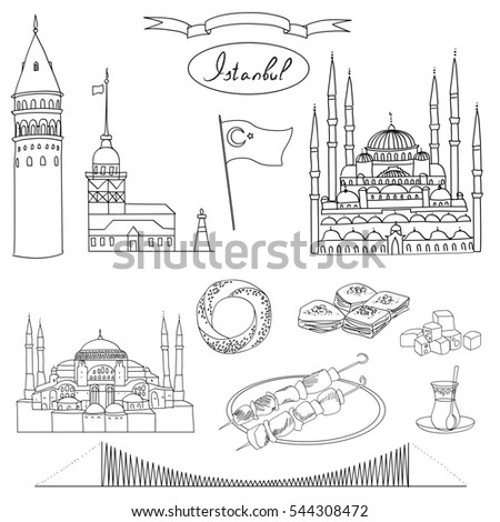 Black White Istanbul Tourist Isolated Object Stock Vector