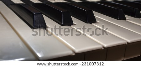 Black and white keys on a dark background
