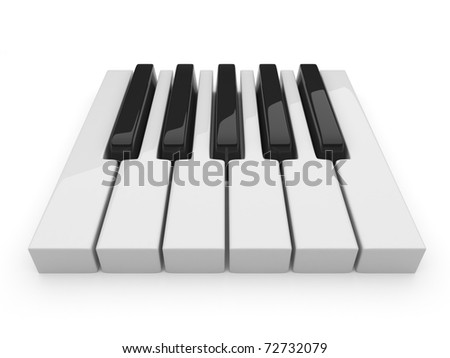 Black and white keys on music. Piano 3D